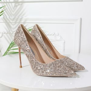 Sparkly Gold Wedding Shoes 2020 Sequins 10 cm Stiletto Heels Pointed Toe Wedding Pumps