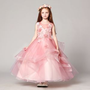 0f6be9c1b85 Chic   Beautiful Blushing Pink Flower Girl Dresses 2017 Ball Gown Scoop Neck  Sleeveless Lace Appliques