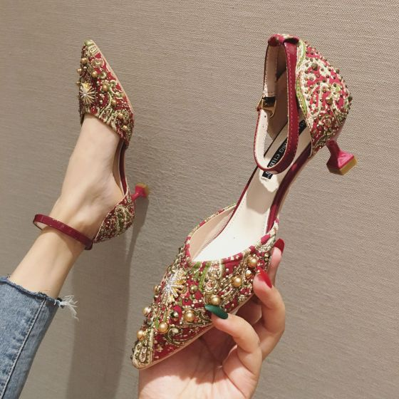 Traditional Fancy Red Evening Party Womens Shoes 2020 Rivet Rhinestone 7 cm Stiletto Heels Pointed Toe High Heels