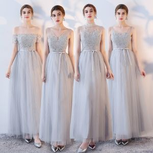 Chic / Beautiful Grape Bridesmaid Dresses 2017 A-Line / Princess Lace Flower Bow V-Neck Backless Ankle Length Bridesmaid Wedding Party Dresses