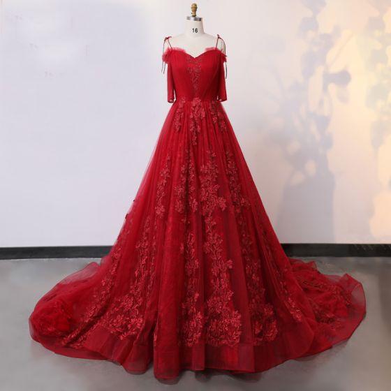 Najpiękniejsze / Ekskluzywne Fantastyczny Czerwone Suknie Ślubne 2020 Princessa V-Szyja 1/2 Rękawy Wykonany Ręcznie Aplikacje Bez Pleców Jednolity kolor Trenem Kaplica Ślub