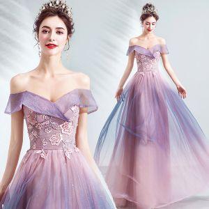 Charming Blushing Pink Glitter Evening Dresses  2020 A-Line / Princess Off-The-Shoulder Beading Crystal Sequins Lace Flower Sleeveless Backless Floor-Length / Long Formal Dresses