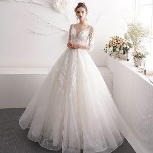 Schöne Ivory / Creme Brautkleider / Hochzeitskleider 2019 A Linie V-Ausschnitt Perlenstickerei Perle Spitze Blumen 3/4 Ärmel Rückenfreies Lange