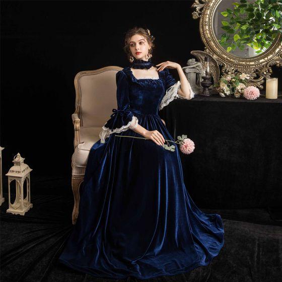 Vintage Mittelalterlich Marineblau Abendkleider 2021 A Linie Eckiger Ausschnitt 3/4 Ärmel Spitze Lange Spitze Satin Tülle Abend Festliche Kleider