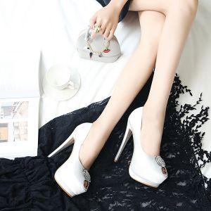 Moda Blanco Zapatos De Mujer 2019 Rhinestone 14 cm Stilettos / Tacones De Aguja Peep Toe High Heels