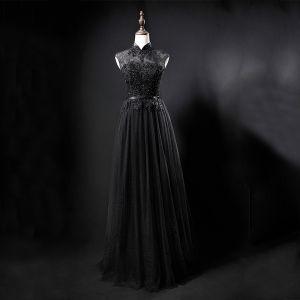 Vintage / Originale Noire Transparentes Robe De Soirée 2019 Princesse Col Haut Sans Manches Ceinture Appliques En Dentelle Perlage Longue Volants Robe De Ceremonie