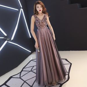 Sexy Black Pearl Pink See-through Evening Dresses  2019 A-Line / Princess V-Neck Sleeveless Appliques Flower Beading Floor-Length / Long Ruffle Backless Formal Dresses
