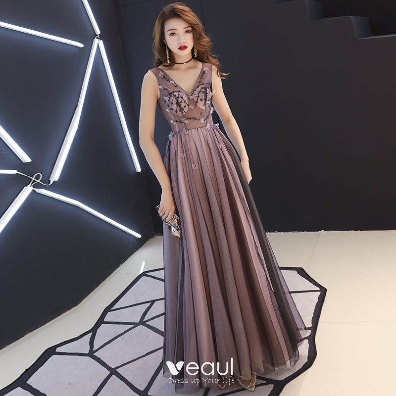 f56e12ba7b5 Sexy Black Pearl Pink See-through Evening Dresses 2019 A-Line / Princess  V-Neck Sleeveless Appliques Flower Beading Floor-Length / Long ...