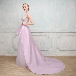 Amazing / Unique Evening Dresses  2017 Lilac A-Line / Princess Chapel Train Scoop Neck Sleeveless Backless Rhinestone Sash Beading Sequins Pierced Formal Dresses
