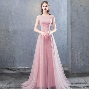 Simple Rose Bonbon Robe De Soirée 2018 Princesse Perlage Paillettes Encolure Dégagée Sans Manches Train De Balayage Robe De Ceremonie