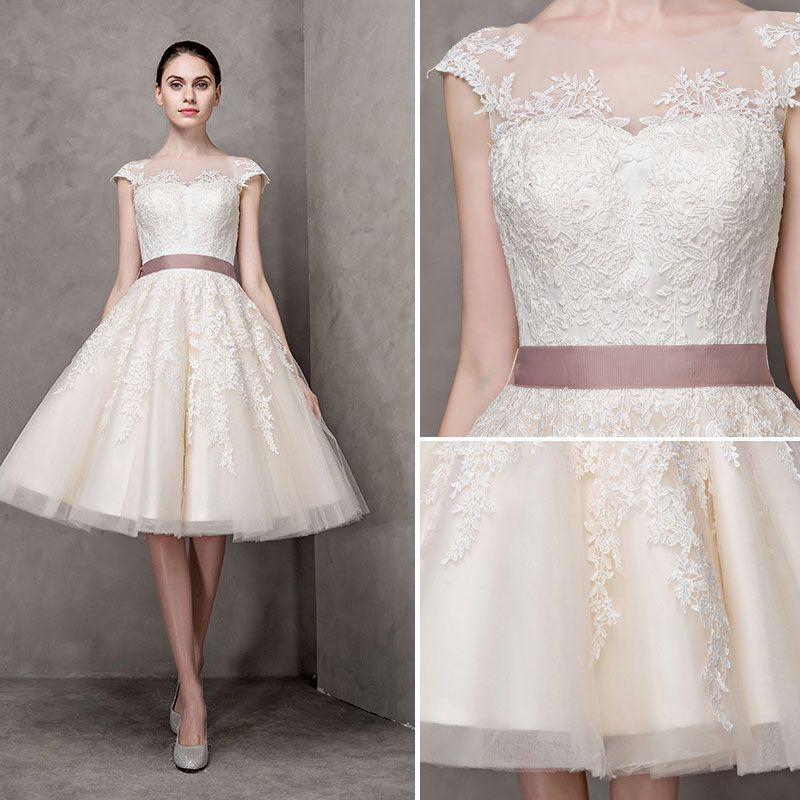 Elegant Champagne Wedding Dresses 2017 A-Line / Princess Square Neckline Short Sleeve Appliques Lace Bow Sash Pearl Knee-Length