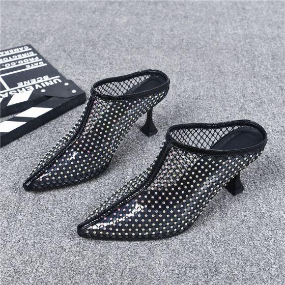 Fantastiske / Unike Svart Casual 2019 Sandaler Dame Lær Rhinestone 6 cm Stiletthæler Spisse Sandaler