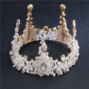 Amazing / Unique White Gold Tiara Bridal Jewelry 2017 Rhinestone Metal