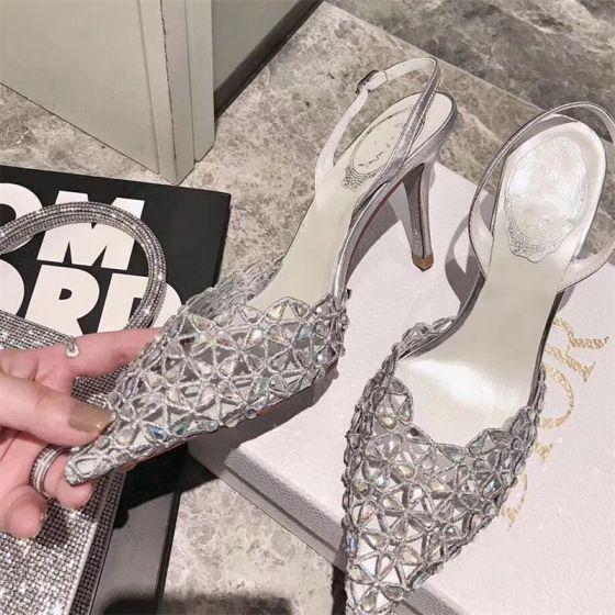 Charmerende Sølv Fest Rhinestone Sandaler Dame 2020 Læder Slingbacks 10 cm Stiletter Spidse Tå Sandaler