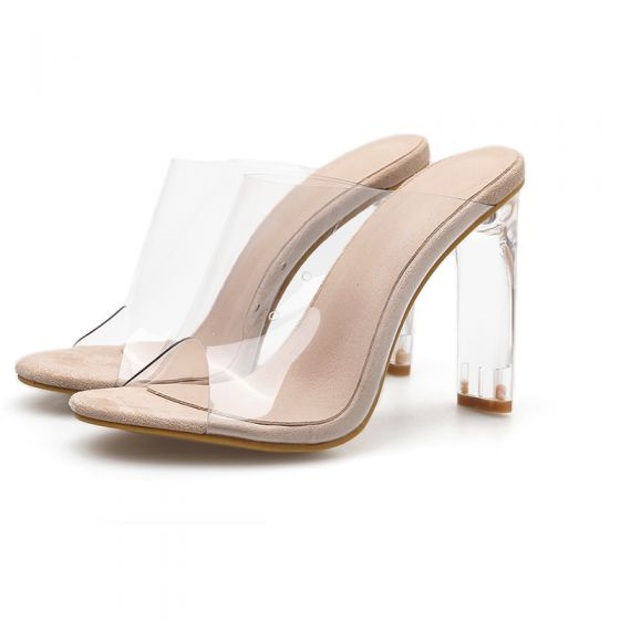 Sexy Beige See-through Street Wear Womens Sandals 2020 11 cm Stiletto Heels Open / Peep Toe Sandals