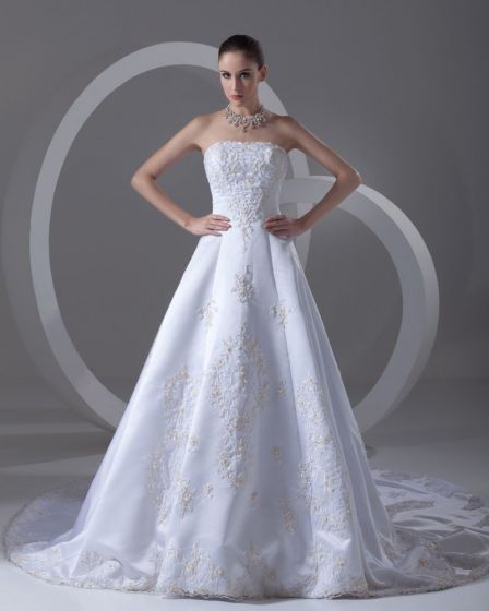 Satin Embroidered Beads Strapless Asymmetrical Length High Low A Line Wedding Dress