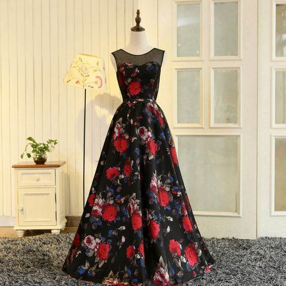 Flower Fairy Multi-Colors Floor-Length / Long Evening Dresses  2018 A-Line / Princess U-Neck Charmeuse Backless Printing Evening Party Prom Dresses