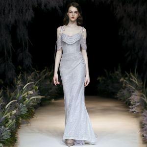 Sexy Silber Glanz Abendkleider 2020 Meerjungfrau Spaghettiträger Perlenstickerei Kristall Kurze Ärmel Rückenfreies Lange Festliche Kleider