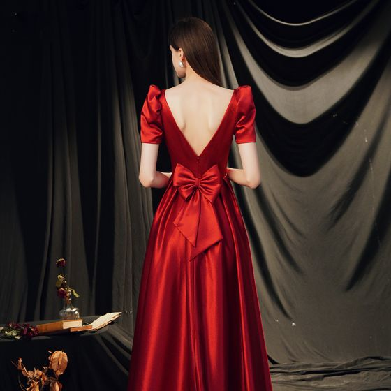 Vintage / Retro Red Satin Dancing Prom Dresses 2020 A-Line / Princess Square Neckline Puffy Short Sleeve Bow Floor-Length / Long Backless Formal Dresses