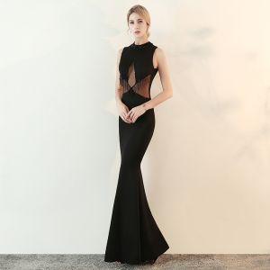 Moderne / Mode Noire Transparentes Robe De Soirée 2018 Trompette / Sirène Col Haut Sans Manches Perlage Gland Longue Robe De Ceremonie