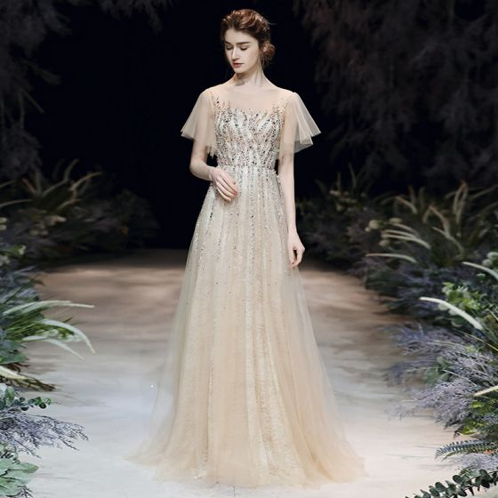 High-end Champagne See-through Evening Dresses  2020 A-Line / Princess Scoop Neck Short Sleeve Beading Sequins Floor-Length / Long Ruffle Formal Dresses