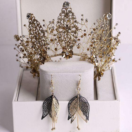 Vintage / Retro Baroque Bronze Bridal Jewelry 2020 Alloy Rhinestone Beading Tiara Earrings Wedding Accessories