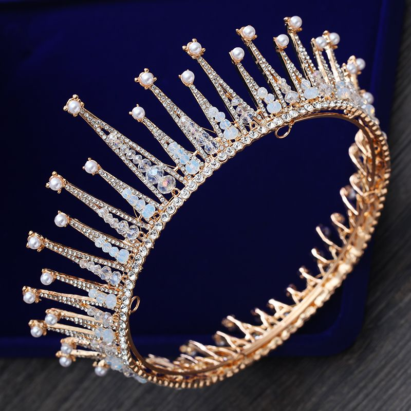 Luxury / Gorgeous Gold Tiara 2018 Metal Beading Pearl Rhinestone Accessories
