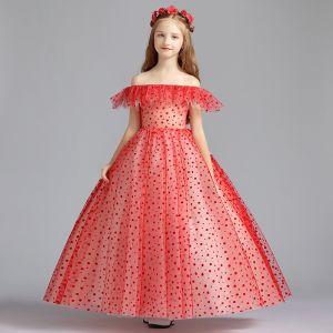 Charmant Rouge Robe Ceremonie Fille 2019 Princesse De l'épaule Manches Courtes Tachetée Tulle Longue Volants Dos Nu Robe Pour Mariage