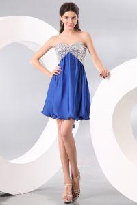 2015 Sterne-elastische Seide Blau A-linie Cocktailkleider