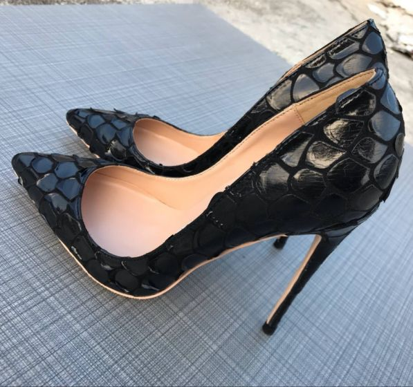 Chic / Beautiful Black Evening Party Snakeskin Print Pumps 2020 12 cm Stiletto Heels Pointed Toe Pumps