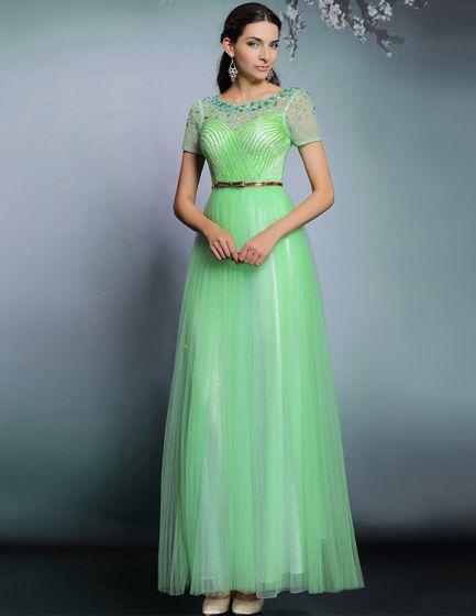 Vestidos De Noche Verde Elegante Vestido Largo De Fiesta 2015 De Manzana ef21e8055702