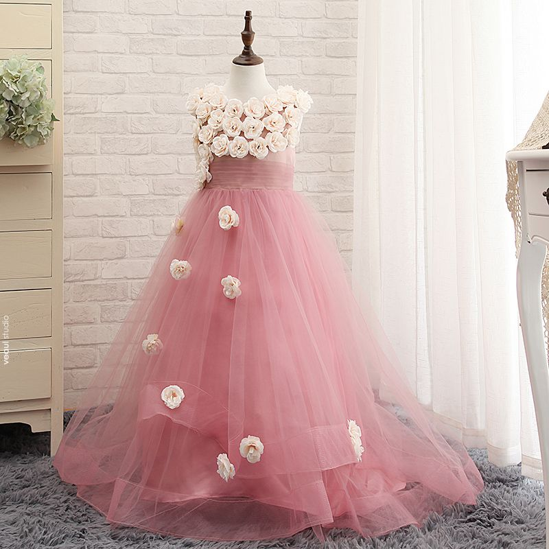 Chic / Beautiful Church Wedding Party Dresses 2017 Flower Girl Dresses Blushing Pink A-Line / Princess Court Train Scoop Neck Sleeveless Flower Appliques Artificial Flowers