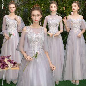 Elegante Grau Rosa Durchsichtige Brautjungfernkleider 2019 A Linie Applikationen Spitze Lange Rüschen Rückenfreies Kleider Für Hochzeit