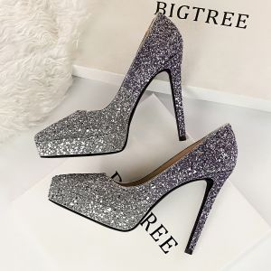 Sparkly Silver Evening Party Pumps 2019 Sequins 12 cm Stiletto Heels High Heels Pointed Toe Pumps
