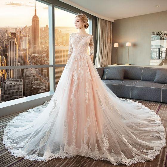 Moderne / Mode Perle Rose Robe De Mariée 2018 Princesse Appliques En Dentelle Encolure Dégagée Dos Nu 1/2 Manches Cathedral Train Mariage