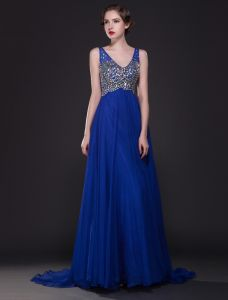 Glitter Crystal Rhinestone V-neck Backless Floor-length Long Royal Blue Evening Dress