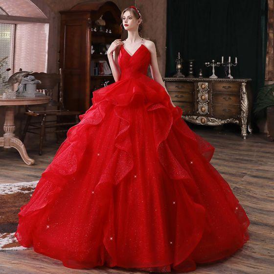 Schöne Rot Hochzeits Brautkleider / Hochzeitskleider 2020 Ballkleid Herz-Ausschnitt Ärmellos Rückenfreies Glanz Tülle Kathedrale Schleppe Rüschen