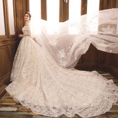 Luxury / Gorgeous Champagne Wedding Dresses 2019 A-Line / Princess Off-The-Shoulder Beading Flower Lace Short Sleeve Backless Royal Train