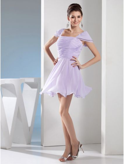 Beautiful Cocktail Dress Shoulders Purple Pleated Ruffle Party Dresses