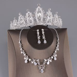 Mooie / Prachtige Zilveren Bruidssieraden 2019 Metaal Kralen Kristal Rhinestone Tiara Oorbellen Nek Ketting Huwelijk Accessoires