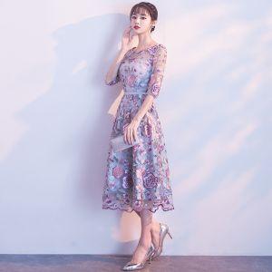Schöne Violett Abiballkleider 2017 A Linie 1/2 Ärmel U-Ausschnitt Spitze Applikationen Rückenfreies Heimkehr Festliche Kleider