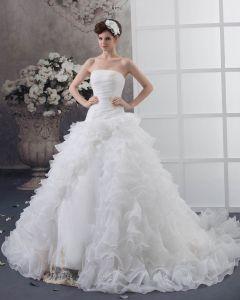 Satin Organza Brode De Perles Tribunal Nuptiale A-ligne Robes De Mariage De Robe