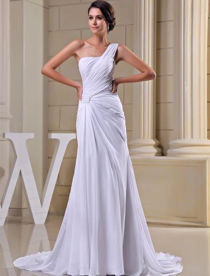 2015 Simple Sheath One Shoulder Pleated Sweep Train Wedding Dress Bridal Gown