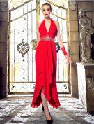 Licou De La Mode V-cou Perles Strass Cristal Backless Robe De Soirée En Mousseline De Soie Rouge