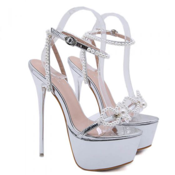 Sexy Silber Cocktail Sandalen Damen 2020 Perle Knöchelriemen 17 cm Stilettos Peeptoes Sandaletten