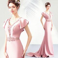 Chic / Beautiful Blushing Pink Evening Dresses  2019 Trumpet / Mermaid V-Neck Crystal Rhinestone Short Sleeve Backless Floor-Length / Long Formal Dresses