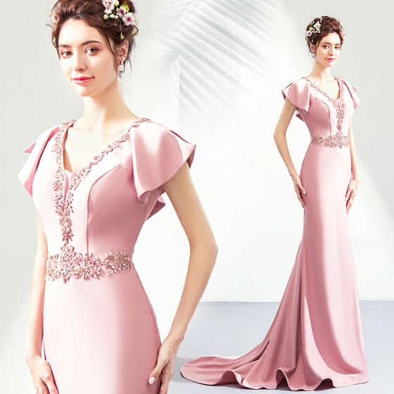 Chic / Beautiful Blushing Pink Evening Dresses  2019 Trumpet / Mermaid V-Neck Crystal Rhinestone Short Sleeve Backless Floor-Length / Long Formal Dresses