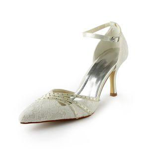 Schön Ivory Brautschuhe Stiletto Spitze Heels Sandalen Mit Knöchelriemen