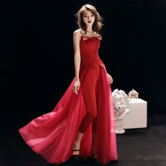 Chic / Beautiful Red Jumpsuit 2019 A-Line / Princess Strapless Sleeveless Floor-Length / Long Ruffle Backless Evening Dresses