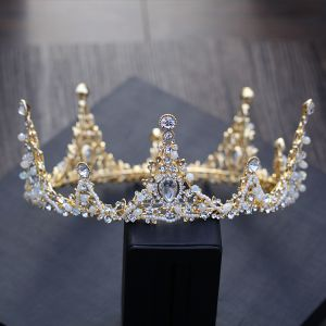 Luxury / Gorgeous Gold Metal Accessories 2018 Crystal Rhinestone Beading Pearl Tiara Earrings Bridal Jewelry